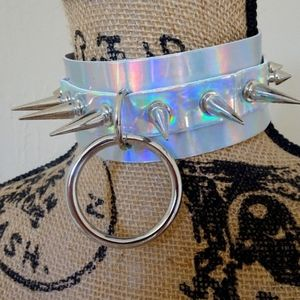 Punk Gothic Holographic Silver Spike Stud Choker